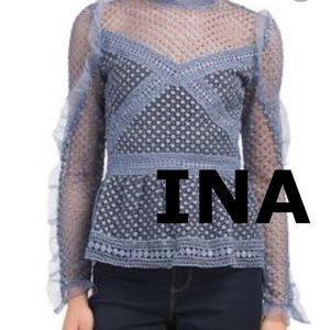 INA | Lace Long Sleeved Peplum Top
